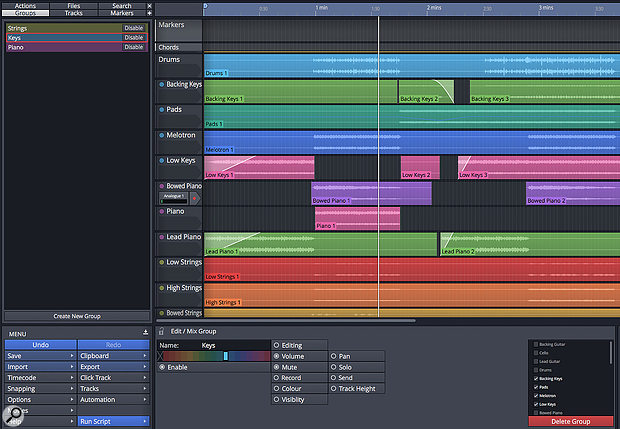 Waveform now includes a  comprehensive group editing feature that can speed editing and mixing tasks.