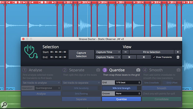 The Groove Doctor Panel provides audio quantising, groove extraction and tempo map creation.