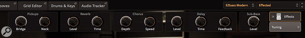 The Effects panel offers a preset-specific set of macro controls to further customise the bass sound.