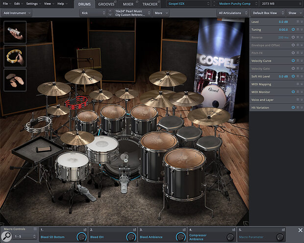 Gospel EZX combines versatile classy drum sounds and very useful additional percussion...