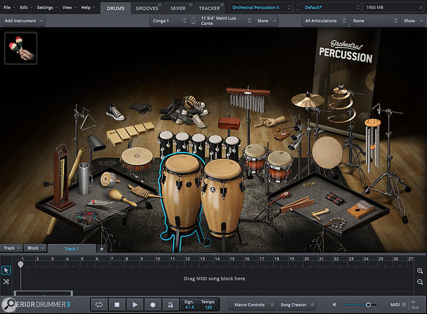 Orchestral Percussion SDX Vol. II's interface — click on an instrument to hear its sound!