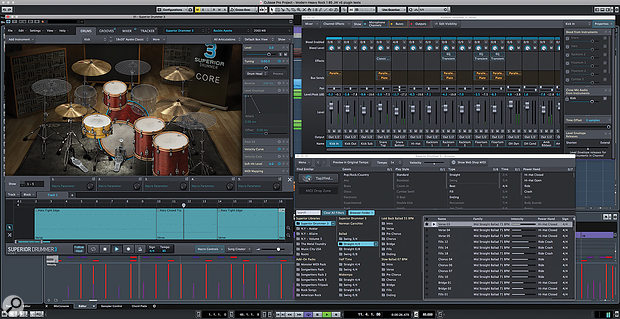 Superior Drummer's new UI is both slick and highly customisable. The revamped Drums page provides multiple sub-panels for sound editing and access to the new Song Track.