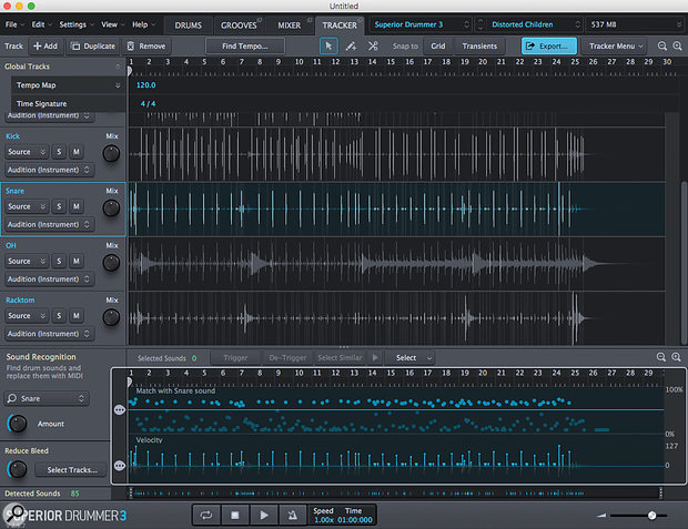 SD3's new Tracker feature provides a very sophisticated suite of tools for drum replacement and, while designed with multitrack recordings in mind, is also seems to do a pretty decent job with stereo drum recordings.