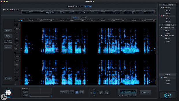 ADX Trax Pro 3 SP's spectral editing is non-destructive: whatever you identify as not belonging to the Vocal part is automatically moved to the Music part, and vice versa.