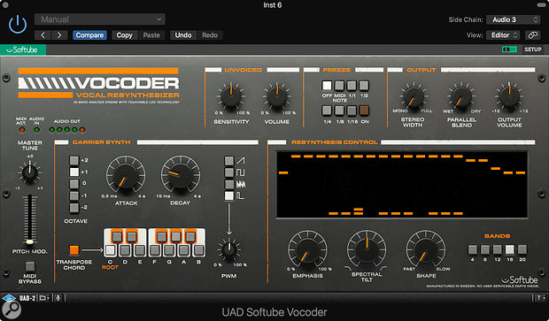 Universal Audio UAD 9.7 - Softube Vocoder Vocal Resynthesizer