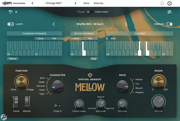 Mellow provides a  very tasty acoustic bassist for your virtual band.