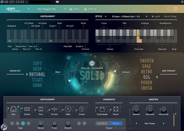All three of UJAM's virtual drummers are built around the same streamlined UI.