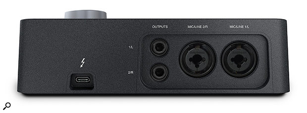 Things are pretty simple at the back of the Arrow, with just a Thunderbolt 3 connector, stereo quarter-inch outputs and combi XLR/jack inputs.