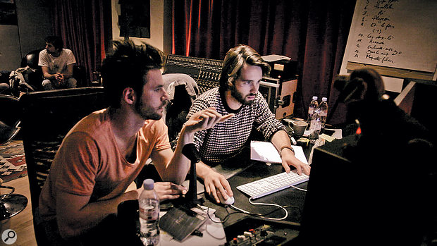 Composer/arranger Clément Ducol (left) and engineer/producer Maxime Le Guil at work on Les Amants Parallèles.