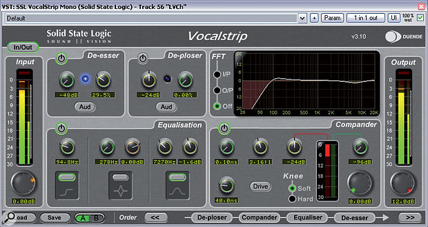 Low frequencies can still make it through a pop screen and a low-cut filter — either on the mic/preamp or during the mix, or both — will help clean things up before you start performing other processes. In this screen shot, a low-cut filter is just one part of the EQ in an instance of the SSL Vocalstrip plug-in.
