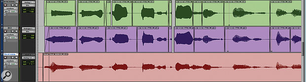 In this screen shot, the timing of two backing vocal-parts has been tightened, by aligning them manually with the waveform of the lead vocal.