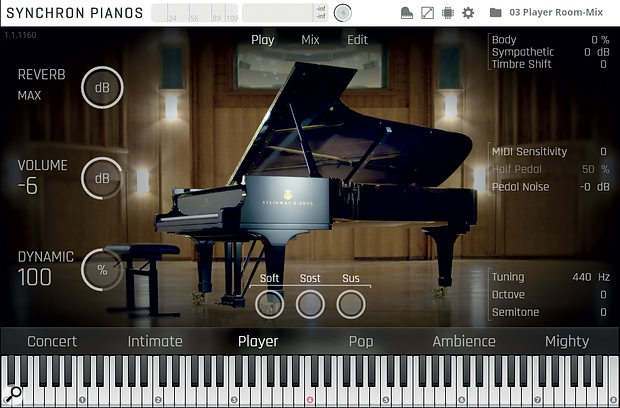 VSL's pride and joy, the Synchron Steinway Concert D‑274 grand piano.