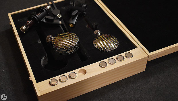 The pine wood box that houses the Vanguard Audio Labs VS1+Lolli mic collection and capsules.