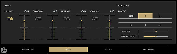 The Mixer page isn't just about balancing the various mic captures, it also gives access to the very effective Ensemble feature, which adds scale, width and looseness.