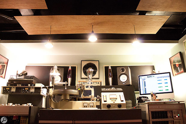 The studio's lathe room is where masters are cut to lacquer discs.