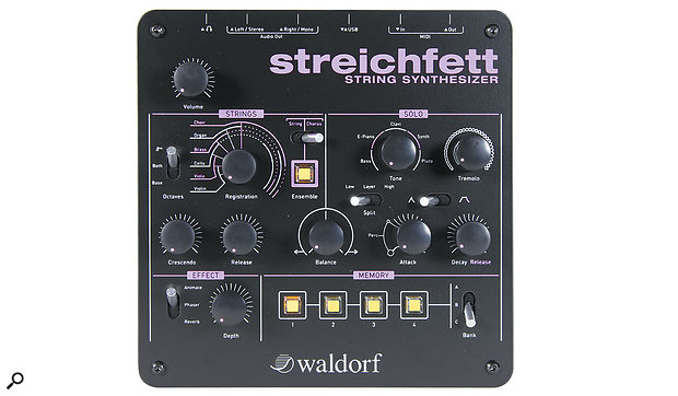 Cosmetically, the Streichfett is very similar to Waldorf's Rocket synth and 2-Pole, and at 185 x 185 mm it won't take up too much room in anyone's studio.