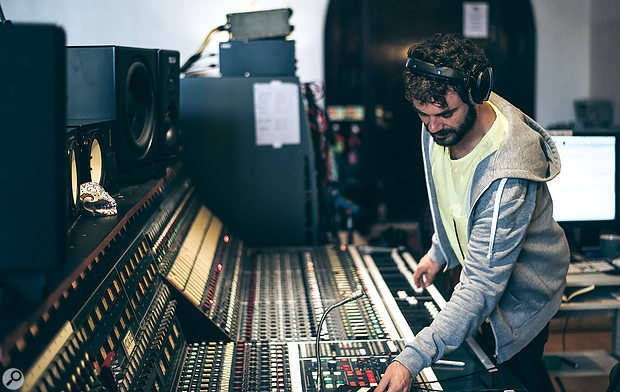 Matt has enjoyed a long working relationship with Paul Epworth, and is often to be found behind the enormous Neve desk at The Church. This photo was taken on sessions for James Bay's forthcoming second album.