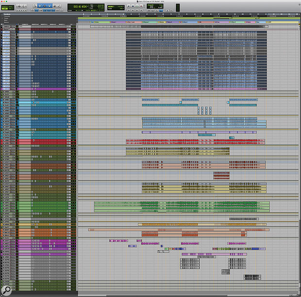 This composite screenshot shows the entire 'Skyfall' Pro Tools session.