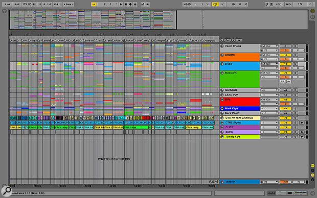 The backing and 'panic' tracks for the whole set are prepared in a single Ableton Live project. Here you can see the Session View, with markers at the start of each song.