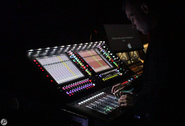 Pete Thomas mixes the show on a DiGiCo console.