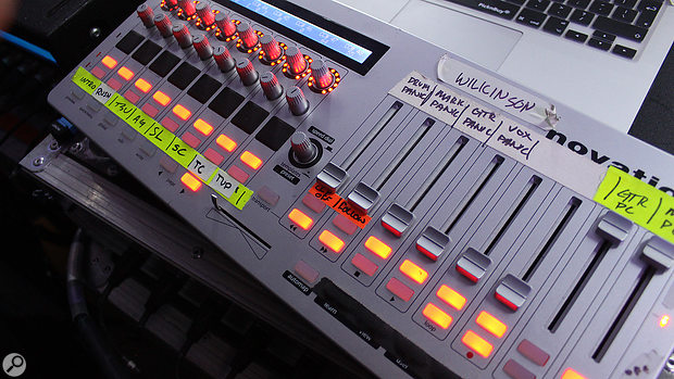 MIDI tech Ben Nelson uses a Novation controller to trigger playback of different songs from Ableton song markers.