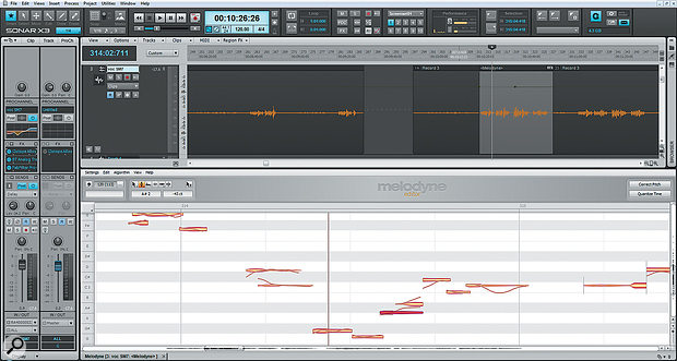 Melodyne integration is a great feature. Here, the vocal clip selected in the main edit window is being edited in Melodyne Editor, which appears within the Multidock.
