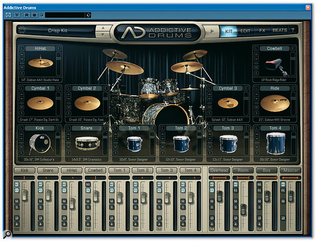 An Addictive Drums kit can contain up to 12 instruments, but they are always in the same configuration, so it's not possible to have more than one kick, snare or ride cymbal.