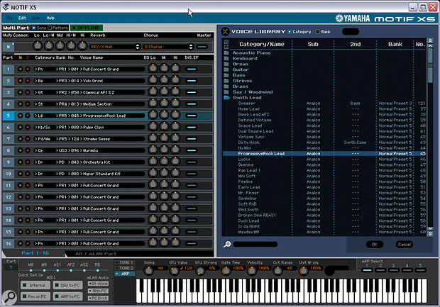 Yamaha's Motif XS editor software: The  Voice library 'Voice selection' window that opens when you click on any Part's instrument names.