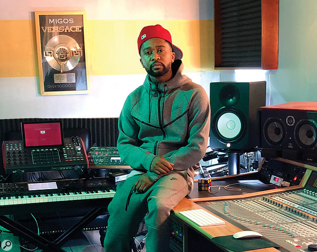 Zaytoven in his Atlanta studio. To left of shot is the Akai MPCX, which is his main source of drum sounds.