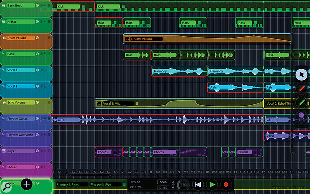 The red outlines around some of the clips are Record loops: pre-determined 'live' sections in which audio and MIDI is passed through so that it can be heard live, but also recorded so that it can be repeated later. The green Play loops are the subsequent repeats. It is also possible to prepare or live-record MIDI automation.