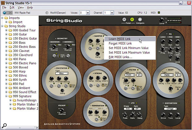 The bundled library is nicely organised, while the various MIDI Link controls let you tap String Studio's expressive potential. All parameters in the VSTi and DXi versions of String Studio can be automated from their host application by directly moving the controls and recording their movements. However, keyboard players will appreciate the ability you have to change any parameter value in real time using your choice of MIDI controller — you just right-click on the control, select the 'Learn MIDI Link' function (shown), and then move the controller that you wish to use.