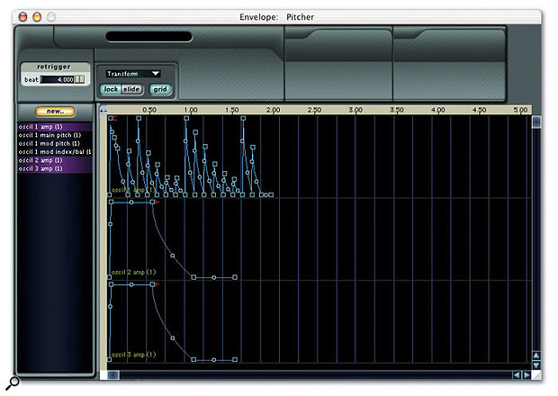 Absynth features very sophisticated multi-stage envelopes, including up to 68 breakpoints, as you can see from this screen.