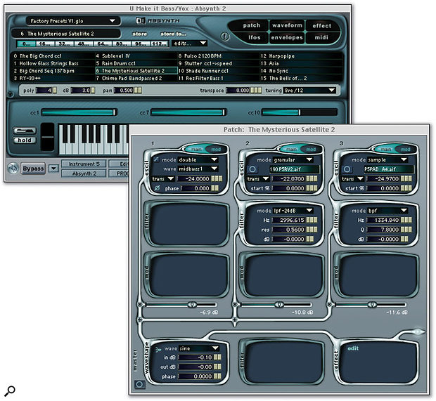 Absynth's main (background) and Patch windows.
