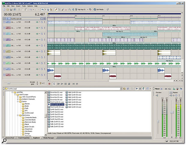 The Acid user interface remains the same, albeit with the inclusion of Folder Tracks, Groove Tools and the Media Manager.