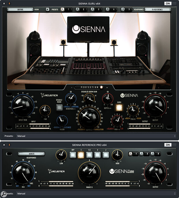 Sienna Guru (top) with the B&W speakers in Spitfire mastering studio selected, and Reference Pro. Both plug‑ins are a little more tweakable than the 'standard' Rooms and Reference, but there's a significant learning curve if you want to understand how to get the best from them.
