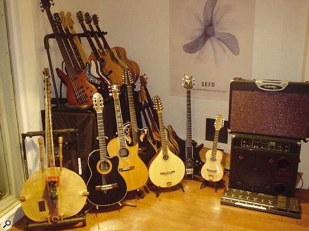 Stringed instruments Western and ethnic, including the African kora (front, left).