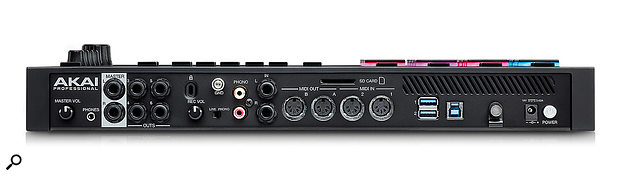 At the back of the MPC Live we find a master volume control, a 3.5mm headphone socket, six quarter-inch audio outputs, a pair of phono inputs (with associated input level control, grounding post and line/phono level switch), quarter-inch audio inputs, two pairs of MIDI I/O ports, three USB ports and a socket for the external power supply.