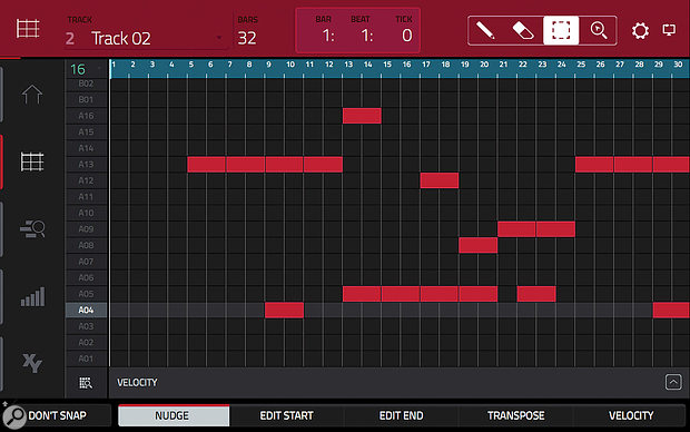 A recorded Clip Program arrangement in Edit View.