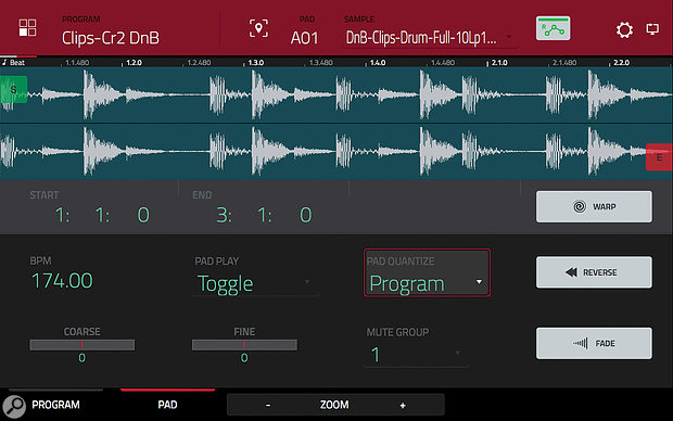 Audio warping enables tempo-sync'ed playback of loops.