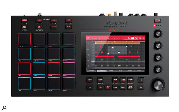 The MPC Live's front panel measures 424 x 224mm, and the touchscreen has a diagonal measurement of 176mm.