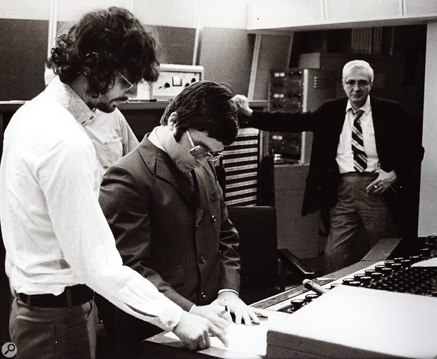 At Columbia Studios, New York, in 1968, with arranger Charles Callelo (centre) and an unknown Columbia employee.