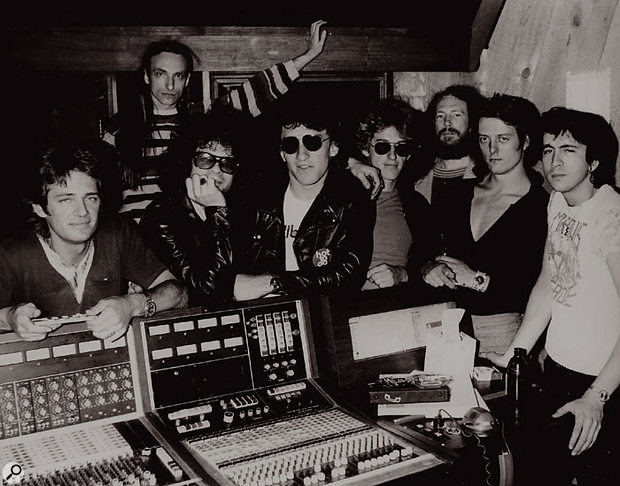 Engineer Lee Kiefer (front left) and Al Kooper (front right) with the Tubes in the Record Plant, Los Angeles.