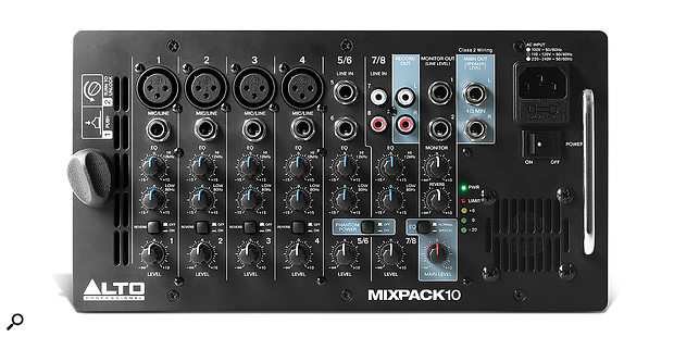 The MixPack 10's mixer can accommodate up to eight sources: four mono mic/line inputs and two mono/stereo line-level feeds.
