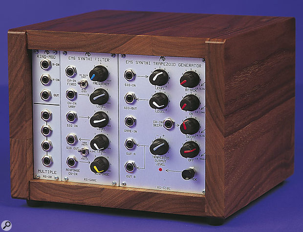 RS500E EMS Synthi Filter and RS510E EMS Trapezoid Generator modules, shown in case with Ring Mod and Multiple modules.