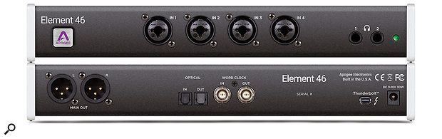 The Element 46, on review here, has four 'combi' XLR/jack inputs and two headphone ports on its front panel, and a pair of XLR outs, optical and word clock I/O ports and a Thunderbolt connector on its rear panel.