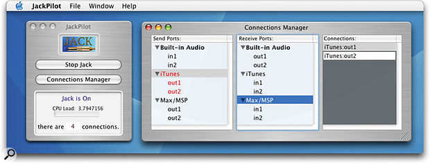 The Jack Pilot main window and connections window, showing iTunes sending audio to Max/MSP and in turn to the built-in soundcard.