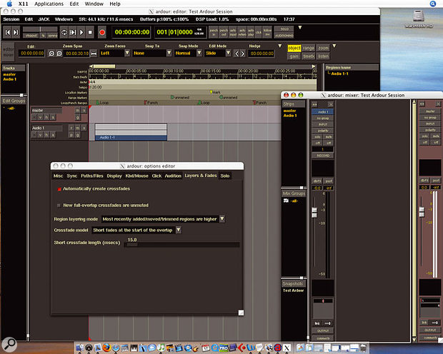 Thanks to Apple's X11 window manager, it's easier for developers to port applications from other UNIX-based or influenced operating systems that use the X Window System for their user interface. Here you can see a build of the popular open-source Linux digital audio workstation Ardour running on Mac OS X.
