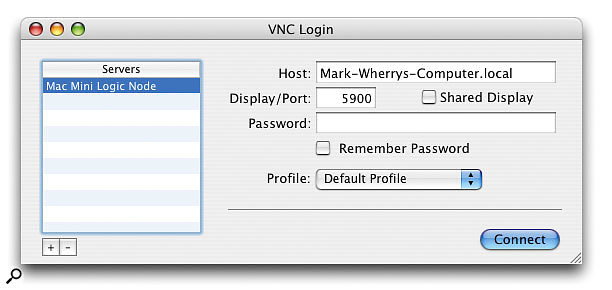 Chicken Of The VNC: a free VNC client you can use on your main Mac running Logic, to remotely access your Macs running Logic Node, without having to worry about multiple keyboards, video displays and mice or KVM switches.