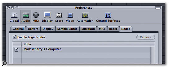 Enable Logic Node functionality from the Node tab of the Audio panel in Logic's Preferences window.