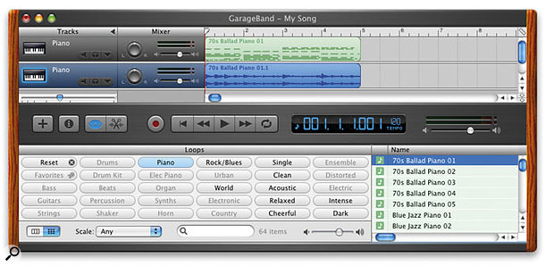 Garageband 1.1 enables audio previews for MIDI loops to be used as actual audio loops. Here you can see a MIDI loop dragged from the browser, and, below it, the audio version, created by Option-dragging the same MIDI loop from the browser.